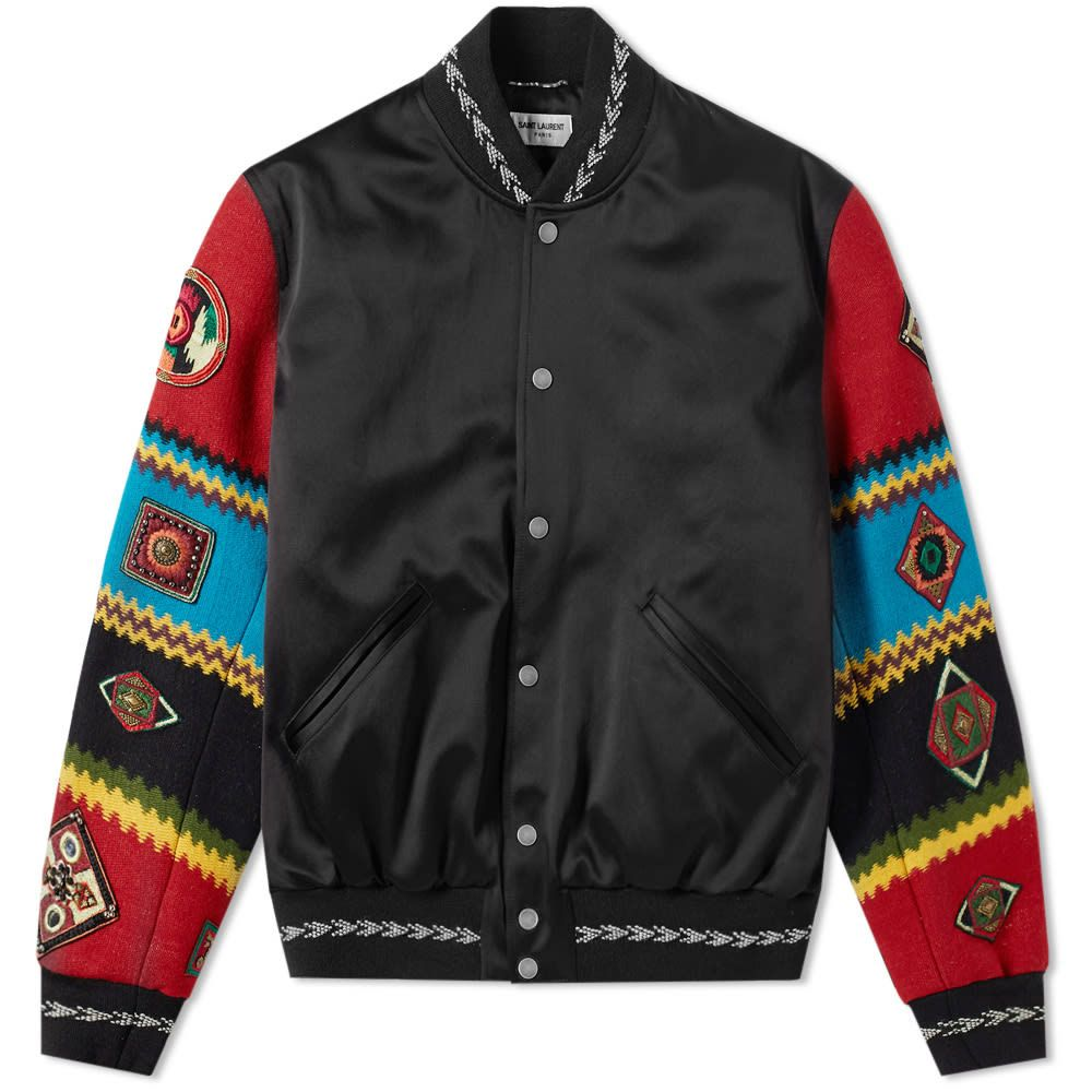 Geaca satin, Saint Laurent, Bomber Teddy Ethnic, Patchwork Negru 50