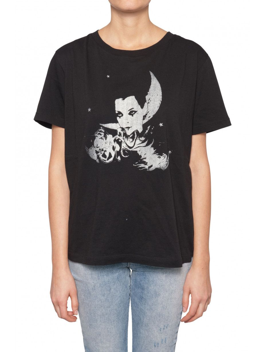 Tricou dama Saint Laurent, Moon Star Print Negru XS
