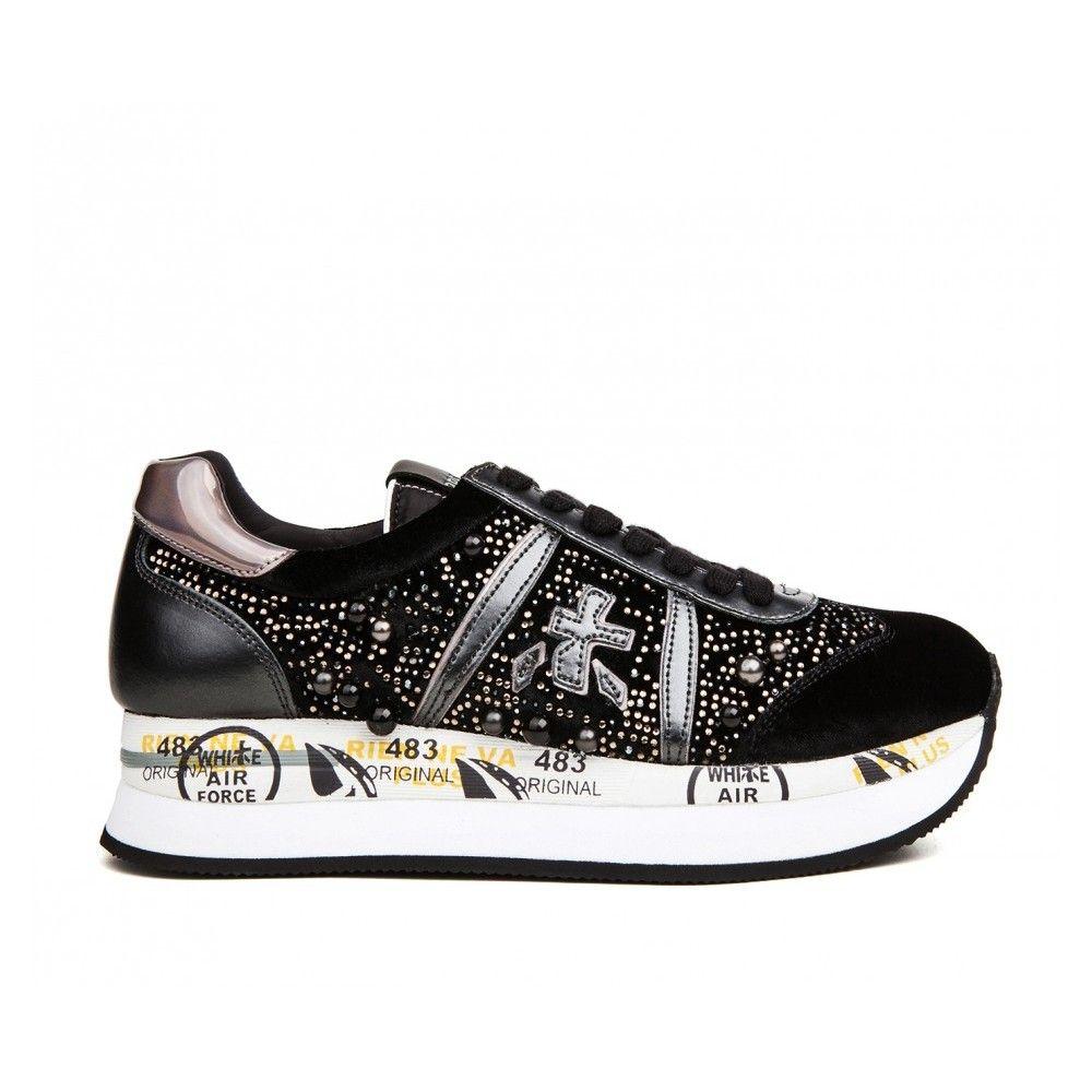 Pantofi sport dama, Premiata CONNY 1621, sneakers Negru 37