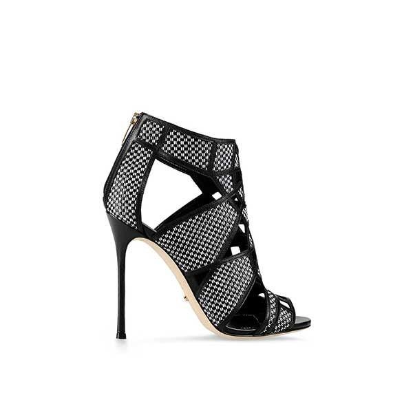 Sandale cu toc, Sergio Rossi, piele Negru 38.5