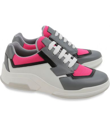 Prada Women's Sneakers, Mid-top, Fuchsia Gray
