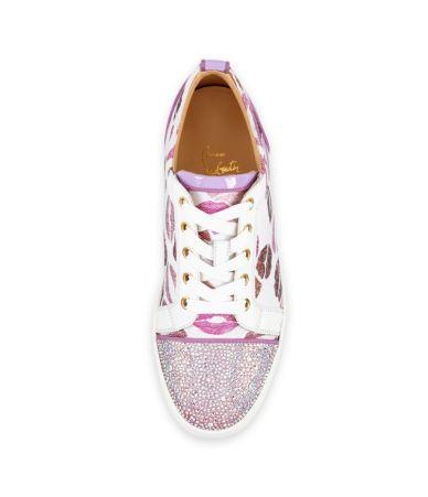 Christian Louboutin, Lip Print, Pink Sneakers, Swarovski Crystals