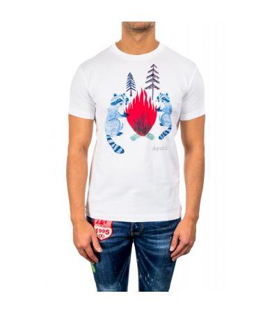Tricou barbat, Dsquared2 White Racoon, imprimat, S74GD0337 S22844 100