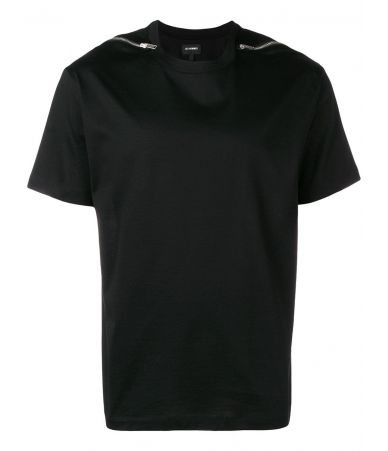 Les Hommes T-Shirt, Zips on Shoulder Jersey, Black, LHG802
