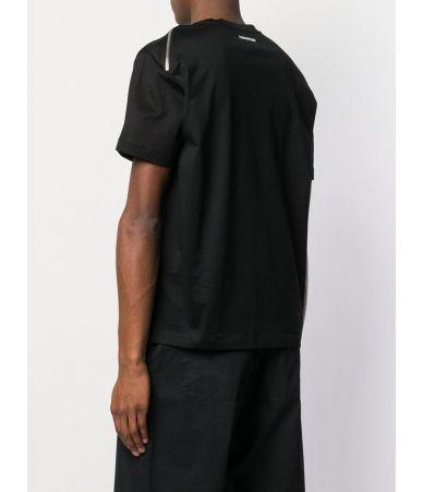 Les Hommes T-Shirt, Zips on Shoulder, Black, LHG802