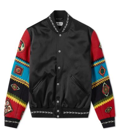 Geaca satin, Saint Laurent, Bomber Teddy Ethnic, Patchwork, 506531.Y021S