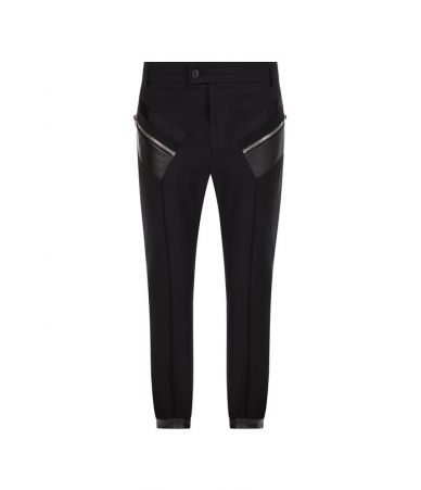Pantaloni casual, Les Hommes, Zipped Pockets, Contrast Fabric, LHG406ALG400E9000