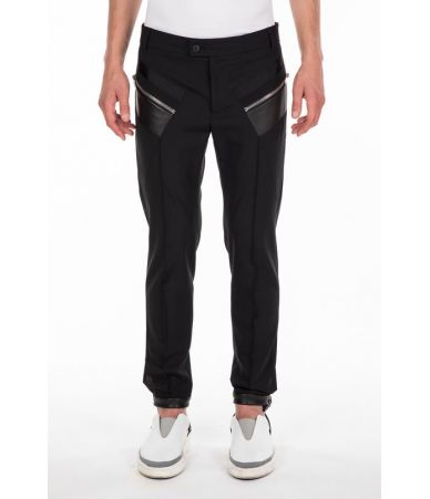 Les Hommes, Casual Pants with Zipped Pockets, Contrast Fabric, LHG406ALG400E9000