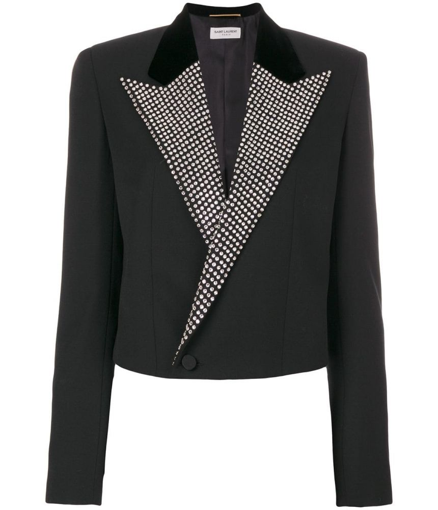 Saint Laurent Blazer, Iconic Le Smoking Spencer, Crystal Lapel, 482594Y399W