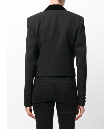 Sacou casual, Saint Laurent, Iconic Le Smoking Spencer, Cristale, 482594Y399W