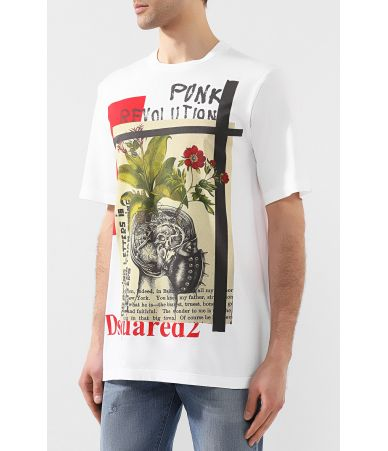 Dsquared2 T-Shirt, Punk Revolution Print, SS19, S71GD0755 S21600