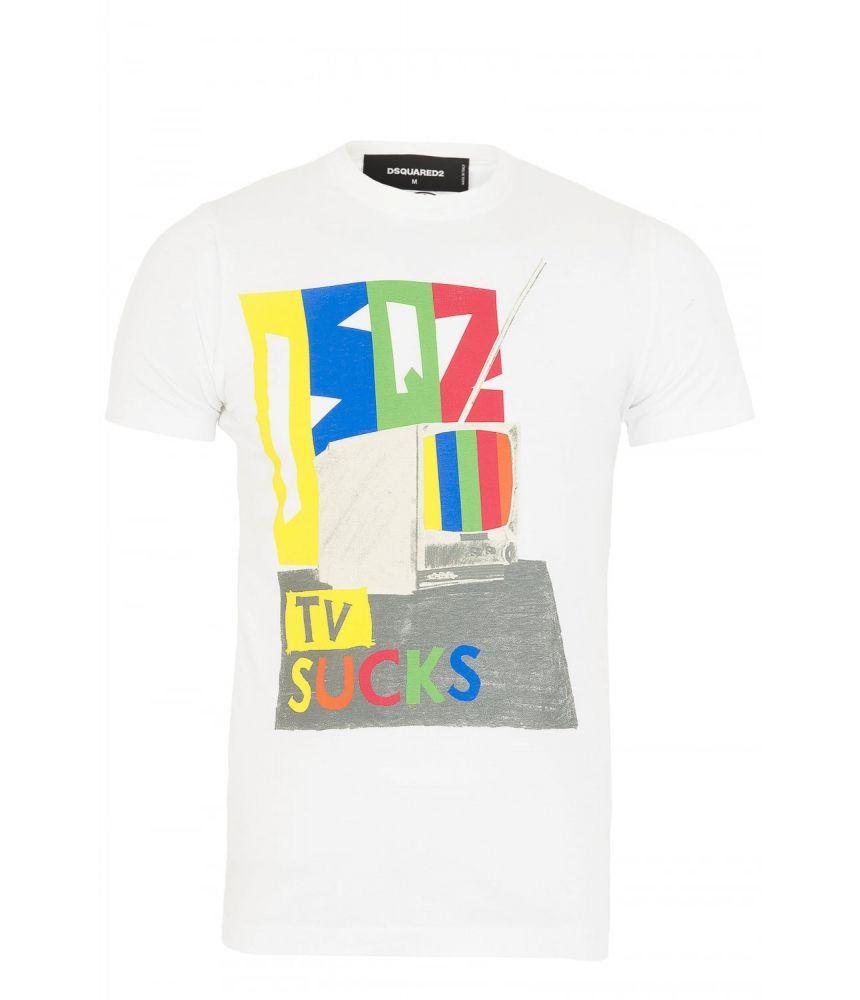 Tricou imprimat Dsquared2, TV Sucks Print, S74GC0976 S22427