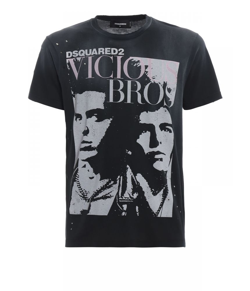 Tricou imprimat Dsquared2, Vicious Bros Print, SS19, S74GD0517 S21600