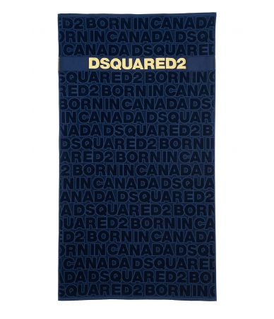 Dsquared2 Beach Towel, Born in Canada Print, blue, D7P002450300