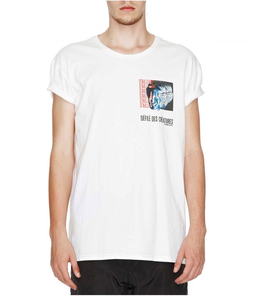 Nous Sommes D'ailleurs, White Graphic T-shirt, T112W