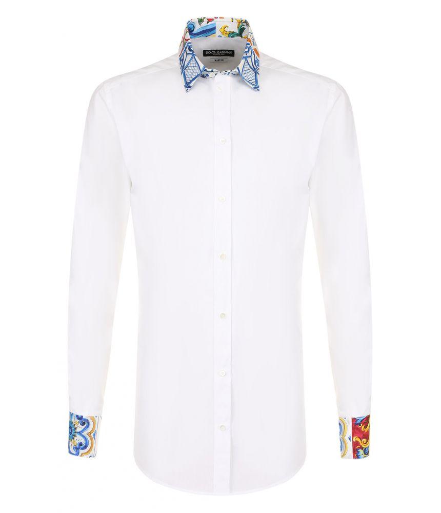 Dolce and Gabbana, Collar Print Casual Shirt, G5EJ1TGEC13