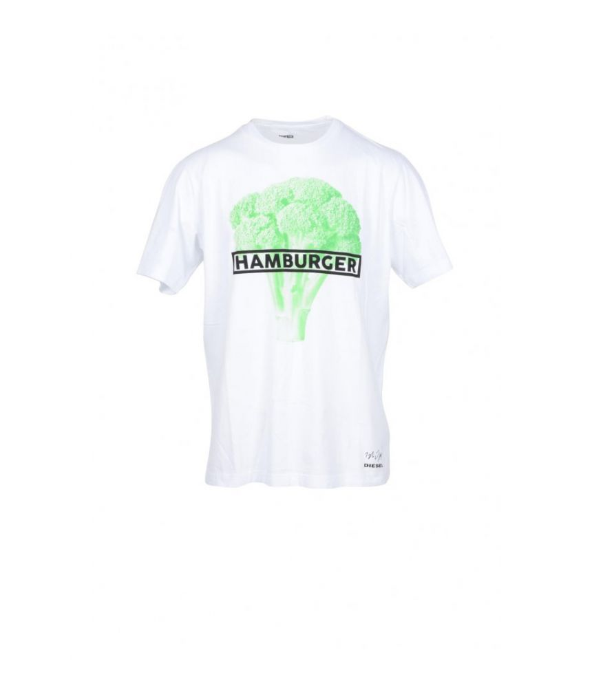 Diesel T-shirt, Hamburger Broccoli Print, round collar