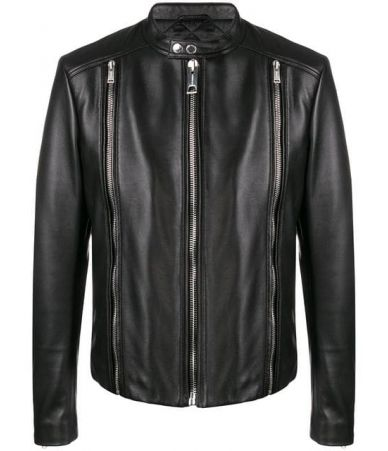 Les Hommes, Fitted Zipped, Biker Leather Jacket, LHF255LLF115