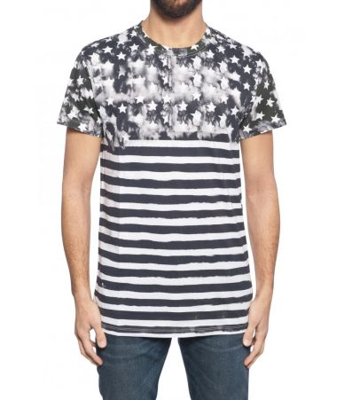 Balmain, Stars and Stripes Print t-shirt, 1H8601I093181