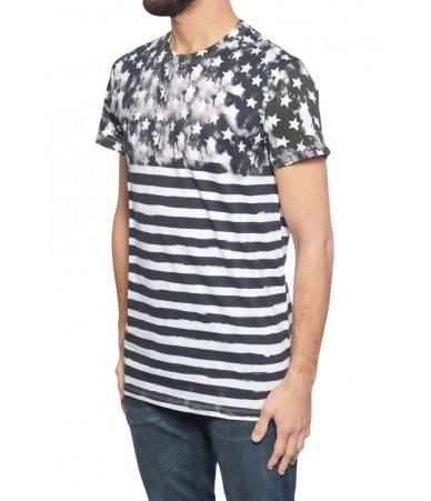 Tricou barbat, Balmain, Stars and Stripes Print, 1H8601I093181