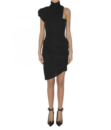 Versace, Cagoule Neck Sheath Dress, 1A80998A208595A1008, black