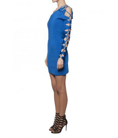 Rochie scurta, Balmain, One Shoulder Lace, 1133642M101C3215