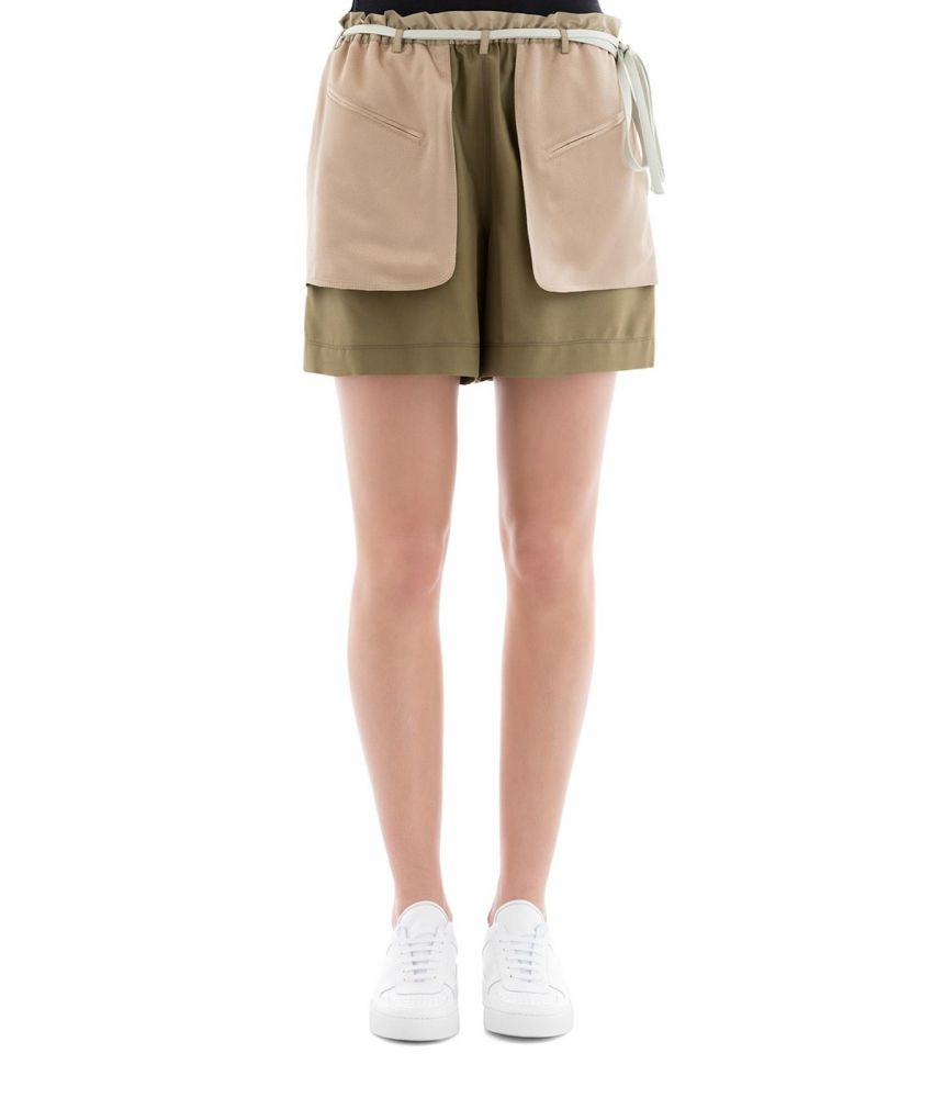 Valentino Women Schappe silk satin green shorts, PB0RF0N537C