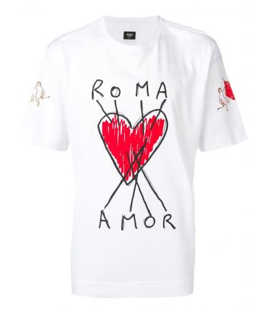 Fendi Roma, Hearts Amor Print, Men's T-shirt, FY0936.A6ZN