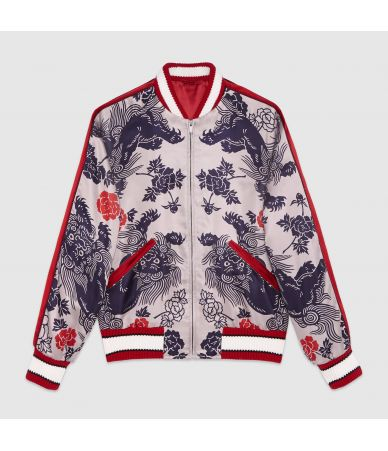 Gucci Lion Print, Men's Bomber Jacket 460820z467e9377
