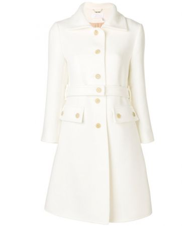 Chloe single breasted belted women's coat, Milk, CHC18AMA01072107