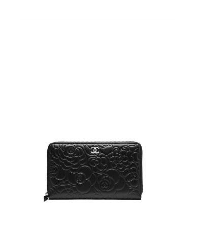 Portofel negru cu fermoar Chanel Camellia, A50932Y01480