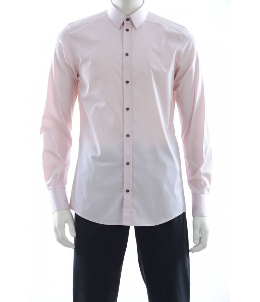 Dolce and Gabbana, Slim Fit Shirt, Embroidered Crown, G5DE1Z FU5GK