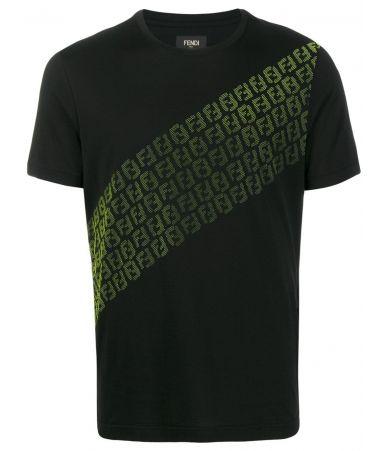 Tricou barbat Fendi, FF print, negru cu verde, AW19, FY0894A870