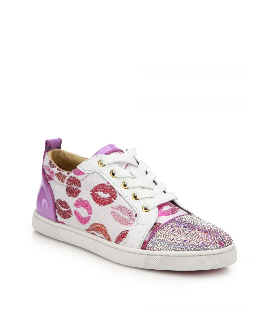 Christian Louboutin, Lip Print, Pink Sneakers, Swarovski Crystals