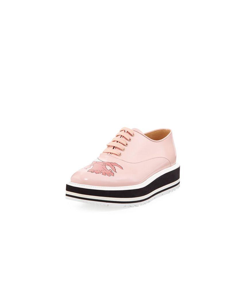 cumpărare acum produse de calitate nou ridicat Pantofi dama cu platforma, Prada, Floral-Print Spazzolato, BGF17 ...