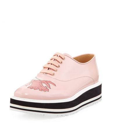 Pantofi dama cu platforma, Prada, Floral-Print Spazzolato Microsole Lace-Up, BGF17 S0BA7