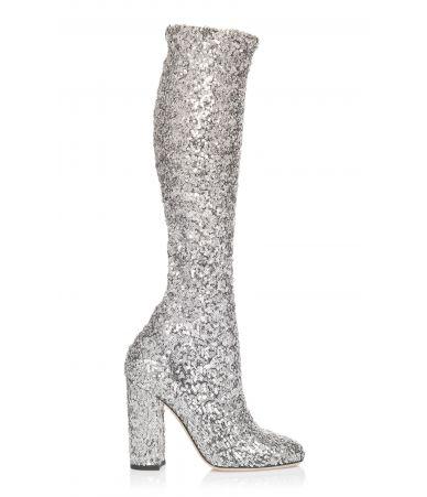 Cizme dama cu toc si paiete, Dolce & Gabbana, Metallic, CU0424AS937