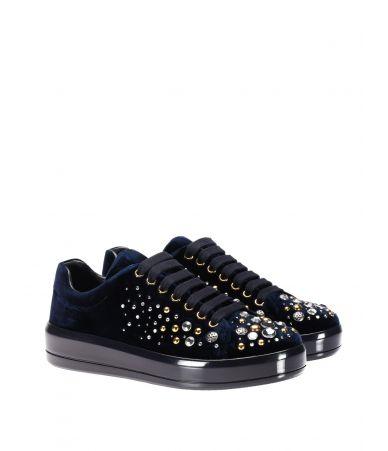 Pantofi sport dama, Prada, Studs Embellishment Velvet Navy, 1E971HW72F0008
