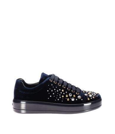 Prada, Woman Studs Embellishment Velvet Sneakers Navy, 1E971HW72F0008