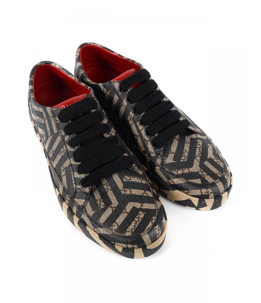 Pantofi sport, Gucci, Printed Canvas Low Top Trainers, 407343