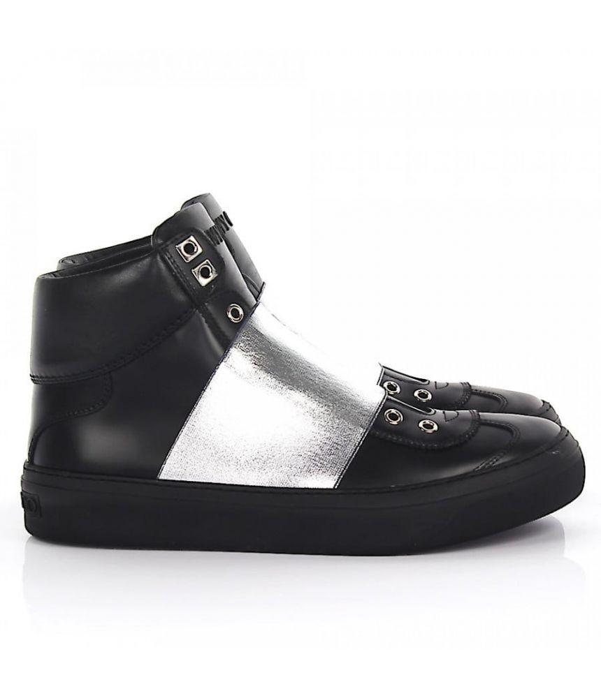 Pantofi sport,  Jimmy Choo, Black Silver Leather Sneakers, dkdsa28742