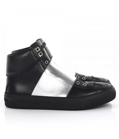 Pantofi sport,  Jimmy Choo, Black Silver Leather Sneakers, dkdsa28742