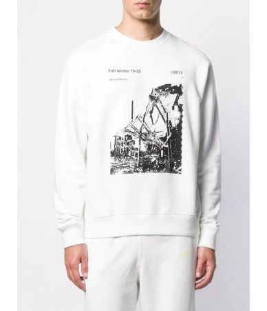 Off White, Ruined factory, White Slim Crewneck, OMBA025F19E3001300110