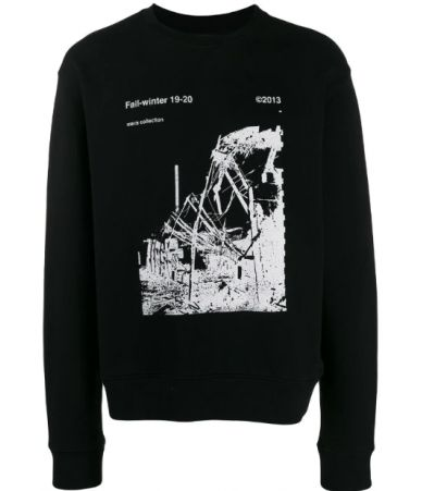 Off White, Ruined factory, Black Slim Crewneck, OMBA025F19E3001300110