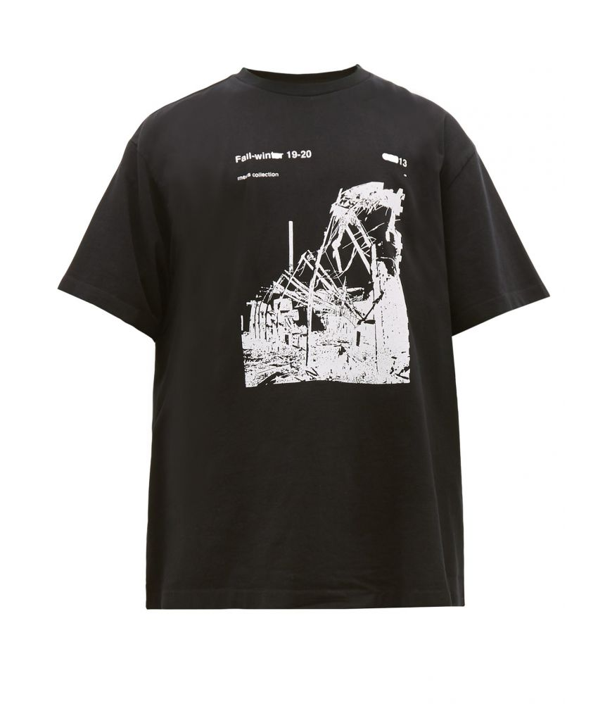 Tricou Off White, Ruined Factory, Oversized Tee Black, OMAA078F191850130110