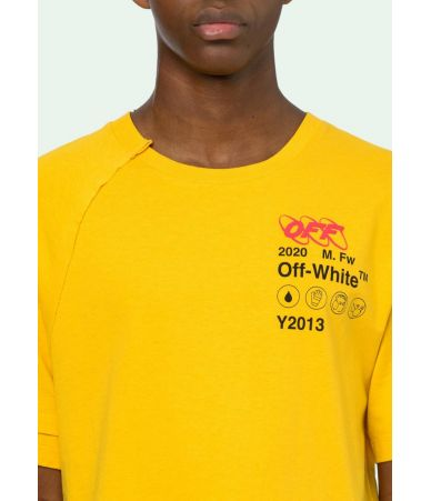 Tricou Off White, Industrial T-Shirt In Yellow, OMAA078F191850166010