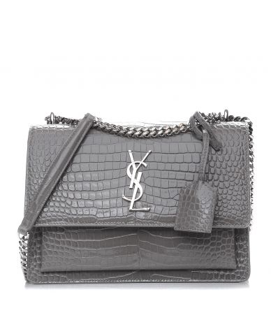 SAINT LAURENT, Bag Crocodile Embossed Medium Monogram Sunset Fog, ALM442906