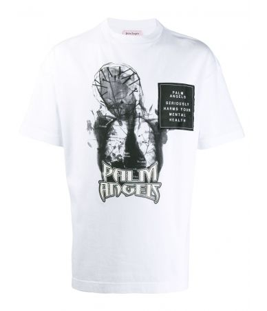 Tricou barbati, Palm Angels, White Mary Graphic T-Shirt, PMAA001F19413033