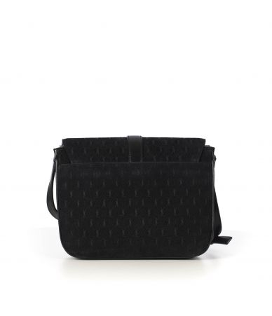 Geanta dama, Saint Laurent, Small Black YSL Embossed Suede Monogram Bag, 568604