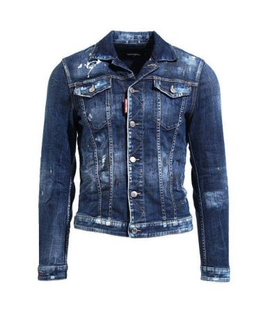 Geaca denim, Dsquared2, DISTRESSED DENIM JACKET, S74AM0846